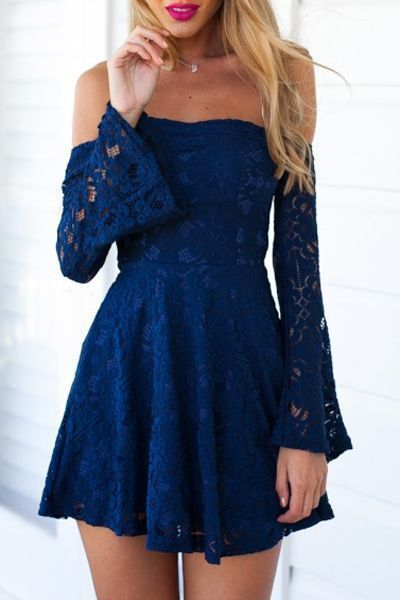640952557d89 Charming Blue Lace Homecoming Dress,Off The Shoulder Flare Dress,Mini Prom , sexy