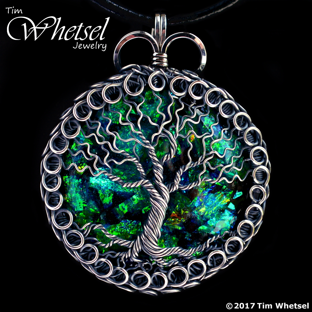 Opalescent Orgonite Sterling Silver Tree Of Life Pendant Loops