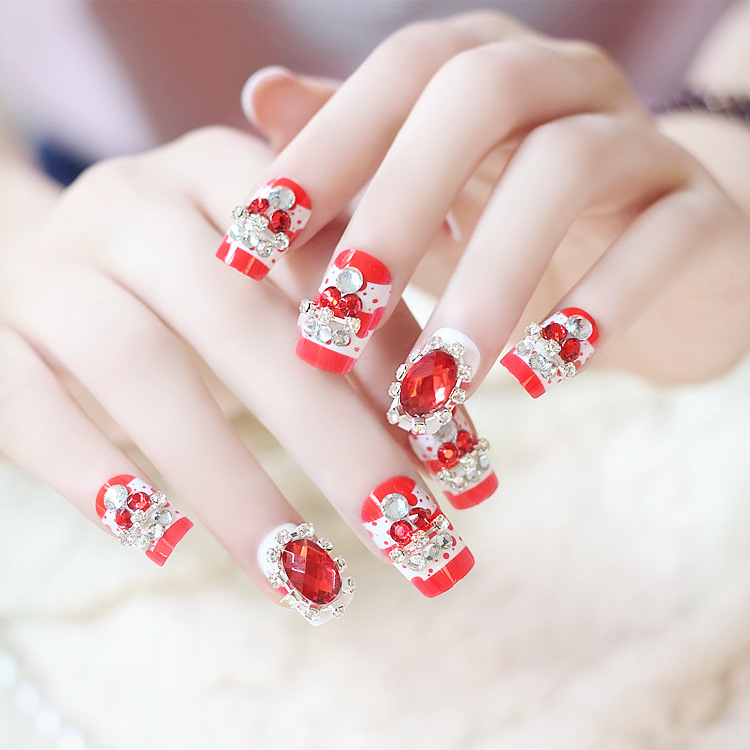 Vintage Style Red Beaded Rhinestone 3d Nail Art Faux Fake Nails On