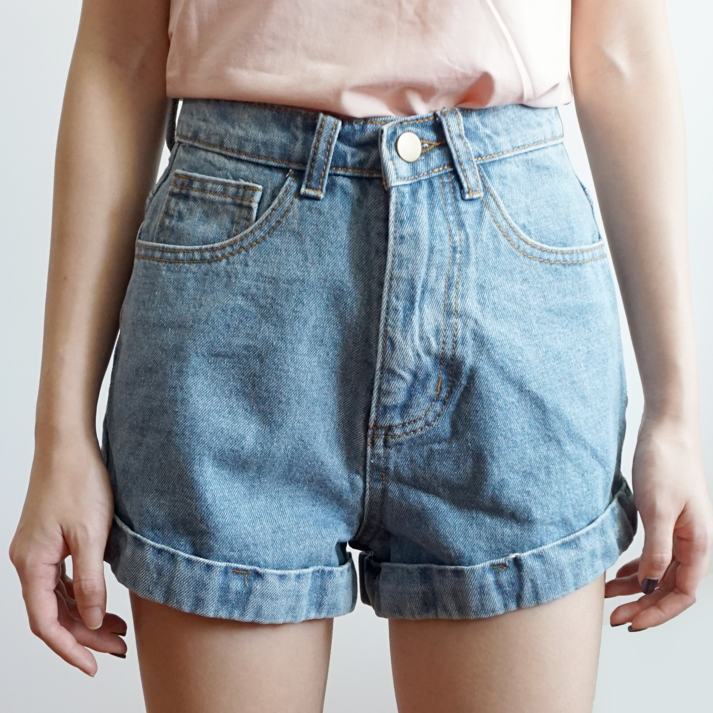 71b187a534 Vintage Cuffed Denim High Waist Shorts (4 Colors) · Megoosta Fashion ...