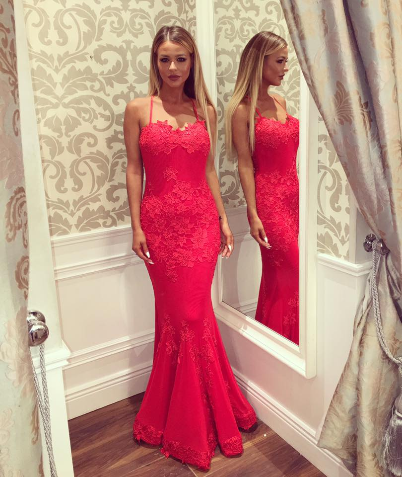 b8962433fc60 Sexy Mermaid Evening Dress Spaghetti Straps Lace Backless Long Prom Dress  with Train