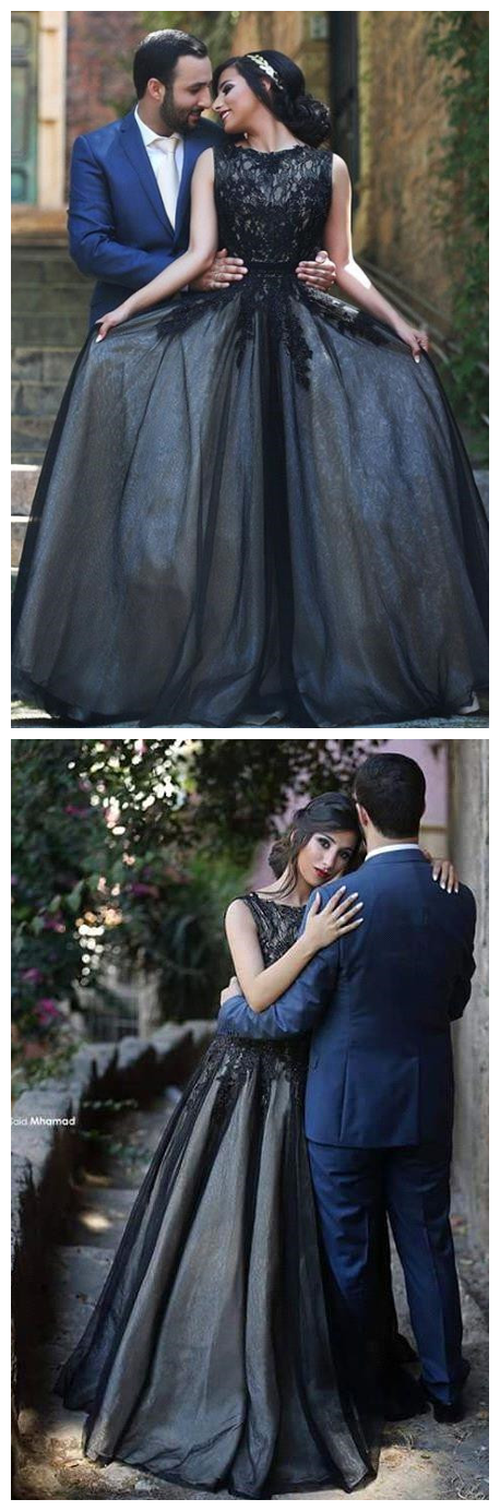 New Arrival Black Lace Prom Dresses Long Custom Made Evening Gowns ...