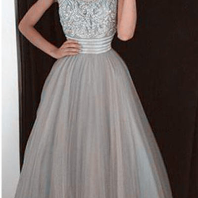 6c8077471cd Tulle long evening dresses crystal a-line beadings glamorous prom dress