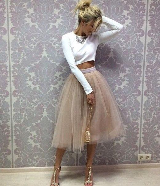 Tulle Prom Dress,Two Pieces Long Sleeve Prom Dress,Custom