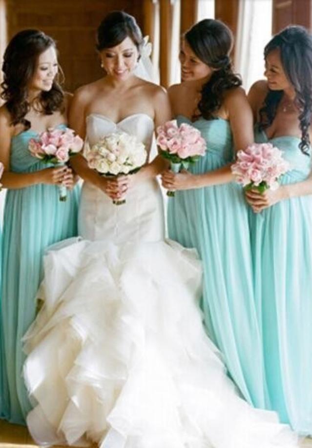 Mint Green A Line Sweetheart Chiffon Pleated Long Bridesmaid Dresses