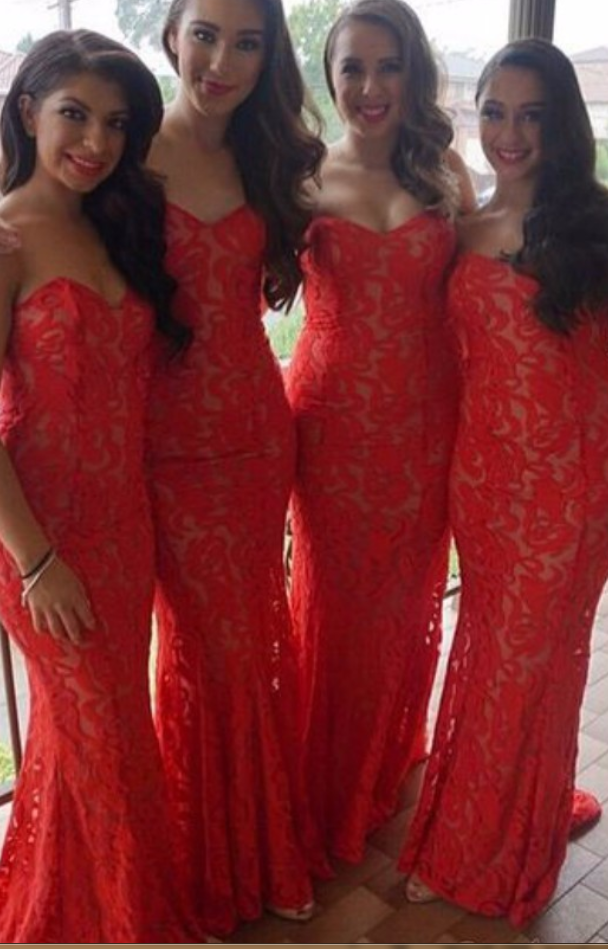 926303801ba Red Mermaid Sweetheart Floor Length Lace Long Bridesmaid Dresses Cheap Under  50 Wedding Party Dresses