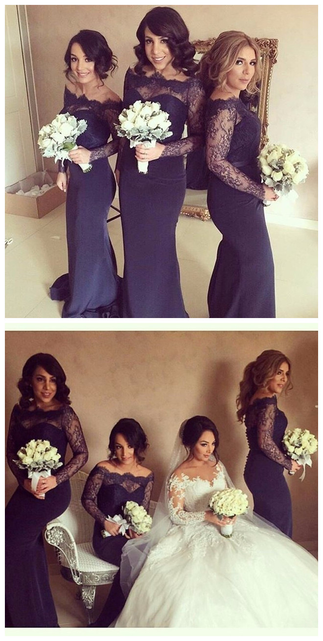 Navy Blue Mermaid Long Sleeves Floor Length Satin Lace Long Bridesmaid Dresses Cheap Under 50 Wedding Party Dresses From Olesa Wedding Shop