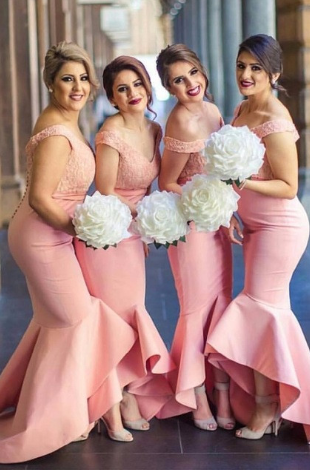 01afcb02bf92 Stunning Off the Shoulder Pink Bridesmaid Dresses High Low Long Lace Satin  Mermaid Wedding Guest Dresses