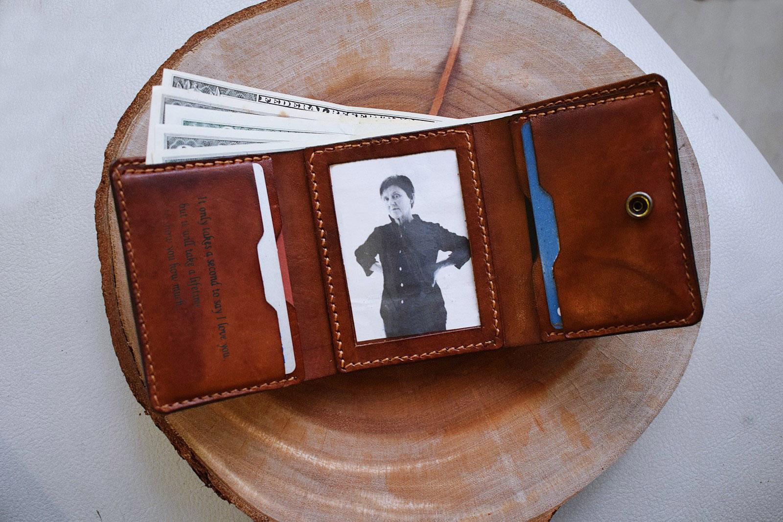 life men s handmade leather wallet tri folder wallet customized