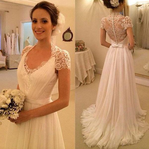 efadb00d212b Hot Sales Cap Sleeves V Neck See Through Back Lace Beach Bridal Wedding  Dresses,High