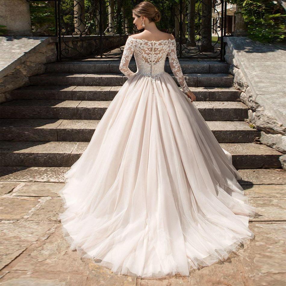 Sexy V Neck Wedding Dresses Long Sleeves Wedding Dress