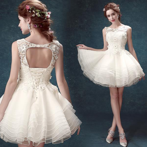 Lace Short Bridal Dress Backless Wedding Dress With Open