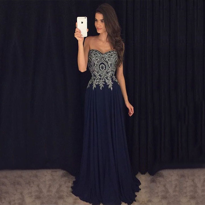 Graceful A Line Sweetheart Dark Navy Prom Dresses Chiffon Long