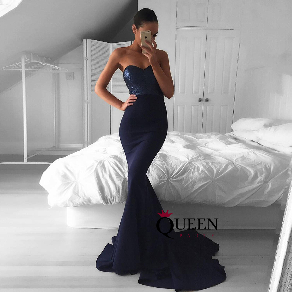 Navy Blue Sequin & Jersey Sweetheart Strapless mermaid Long Prom ...