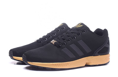 24955b870488 Fashion Adidas Originals ZX Flux Black Gold Women s Men s Sneaker ...