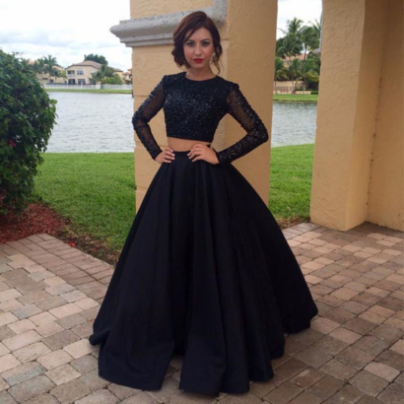 Long Sleeves Two Pieces Plus Size Prom Dresses For Teens,Modest Formal  Evening Dresses