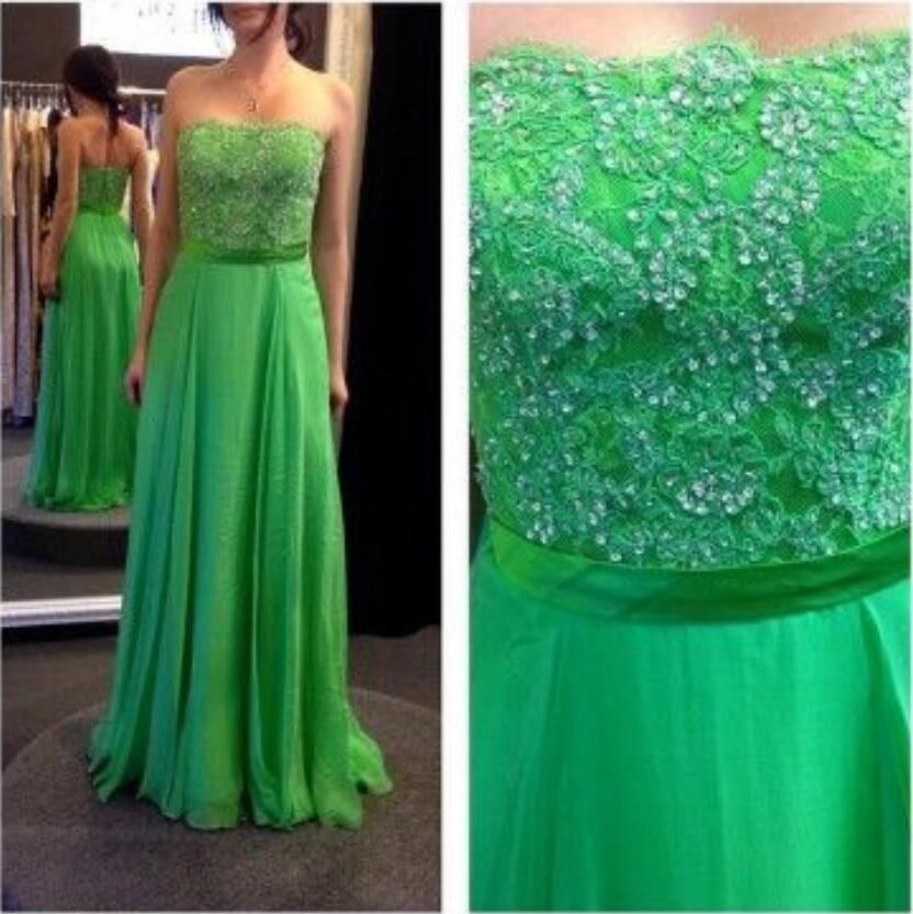 Strapless Green Lace Bridesmaid Dress Evening Dresses Custom Party Dress Wedding Guest Prom Gowns Formal Occasion Dresses Formal Dress From Dress