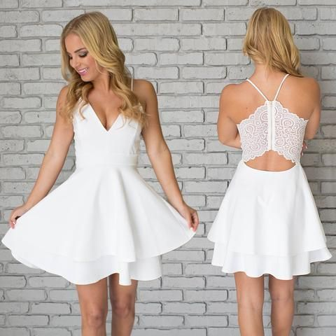 Unique Two Pieces Spaghetti Straps Tiered White Homecoming Dress ...