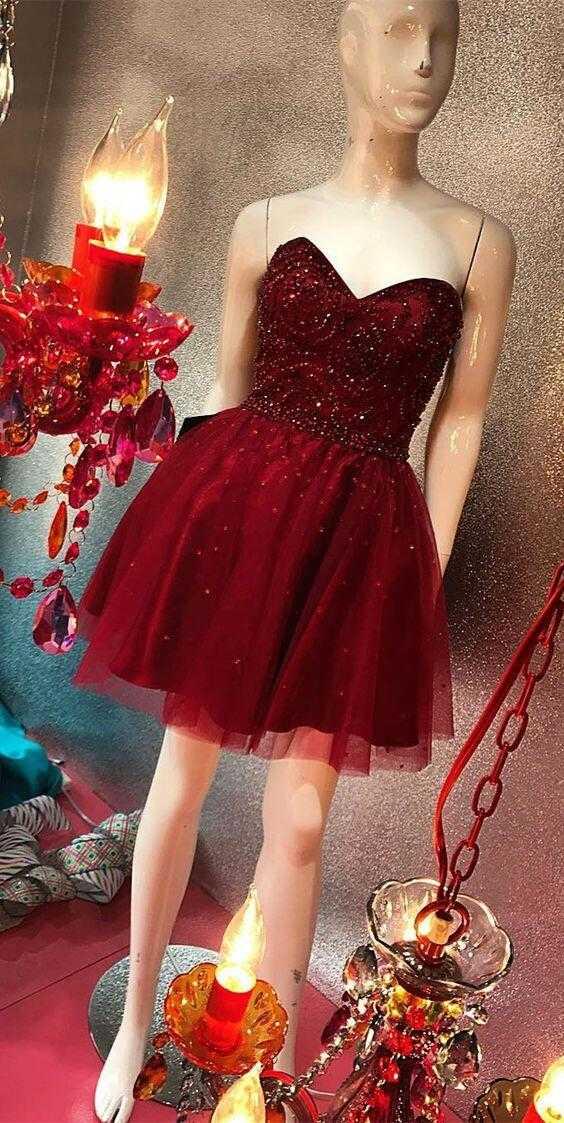 ef4d41283 Short Sweetheart Homec Burgundy oming Dresses for Juniors Prom Dresses