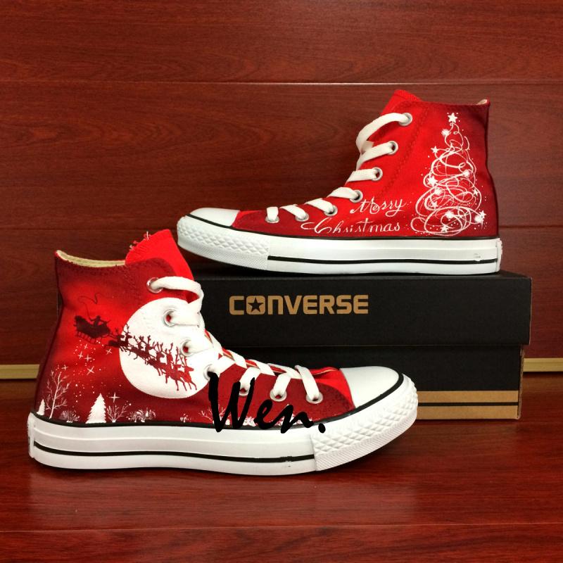327781f4867e New Year Merry Christmas Original Design Custom Red Converse All ...