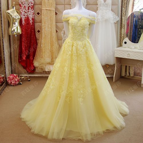 Elegant Prom Dressplus Size Yellow Lace Off The Shoulder Ball Gown