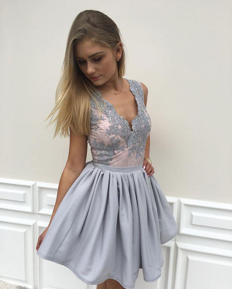 b6fa2769571f New Arrival 2017 Homecoming Dresses,Grey Homecoming Dresses,V-neck Lace  Hoco Dresses,Short Prom Dresses APD2628 on Storenvy