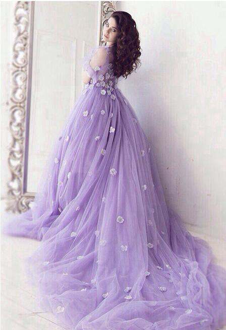Romantic Lavender Short Sleeves Tulle Flowers Prom Evening Dresses Long  Plus Size Floral Prom Gowns E03 sold by Lemonbridal