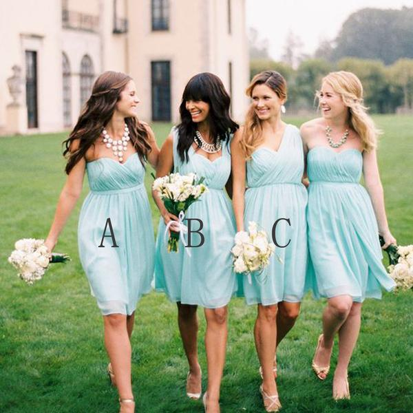 a1b7154809d74 P418 Mint Green Short bridesmaid dresses, Mismatched bridesmaid dresses, Short  bridesmaid dresses, long bridesmaid dress, cheap bridesmaid dresses on ...