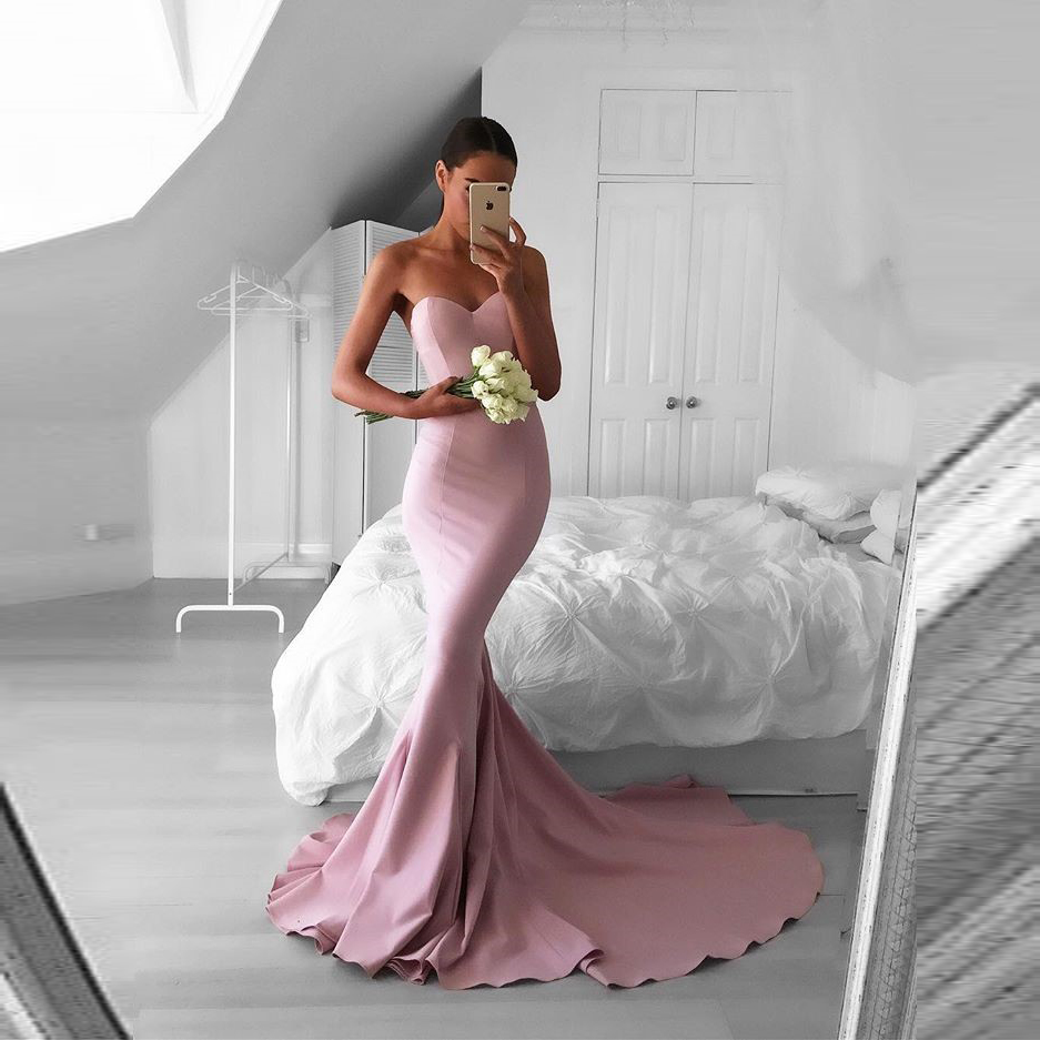 Gorgeous Pink Sweetheart Satin Mermaid Prom Dress,Formal Gown With ...