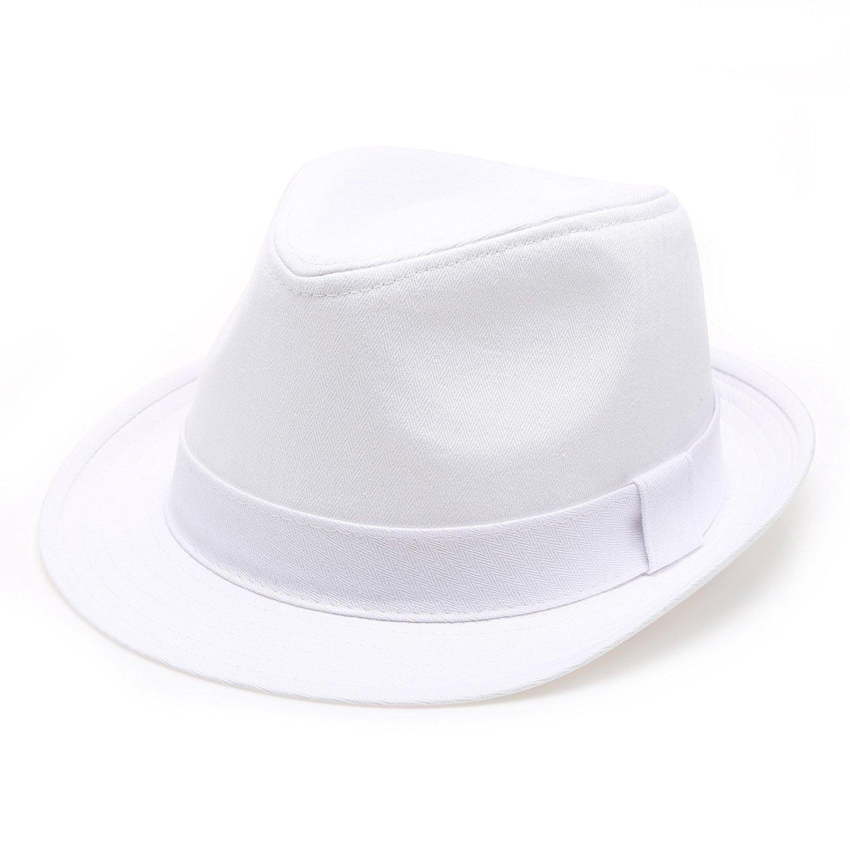 41582b55f4b Classic Trilby Short Brim 100% Cotton Twill Fedora Hat with Band ...