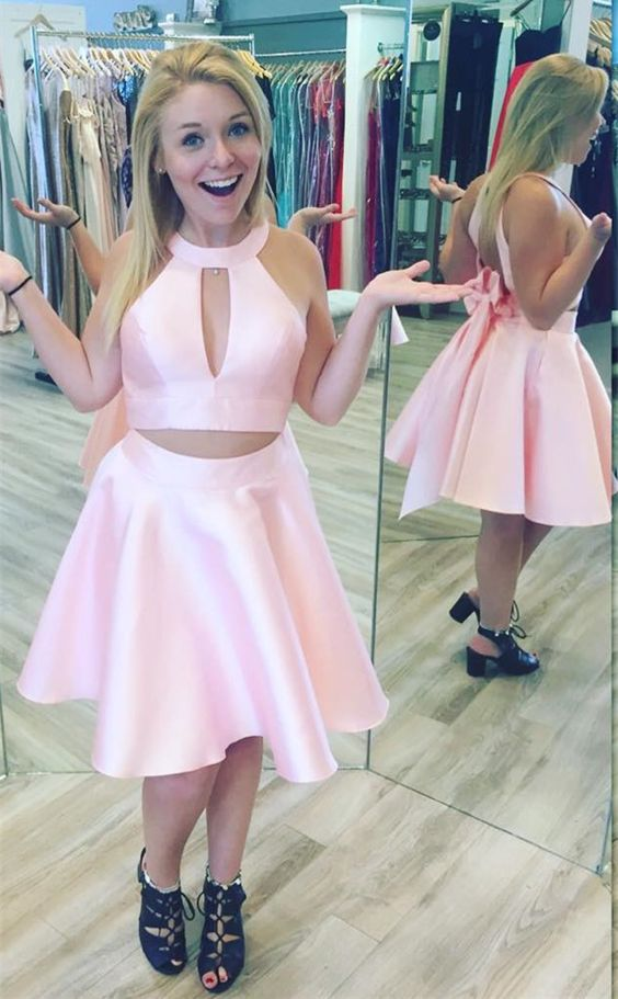 2b44eec74e Sexy Halter Two Piece Homecoming Dresses Party Dress for Junior ...