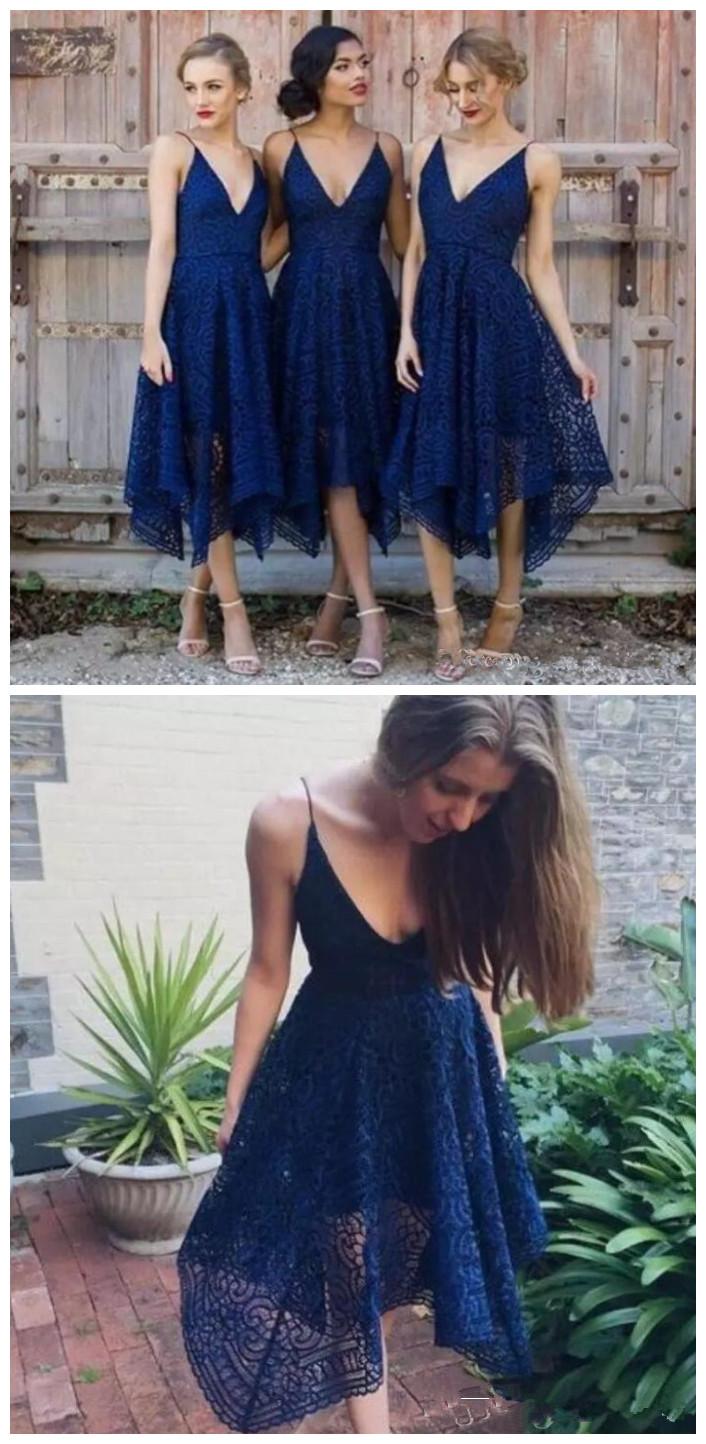 d50181abe9 Romantic V Neck Full Lace Bridesmaid Dresses Straps Tea Length Short Maid  Of Honor Gowns Dark