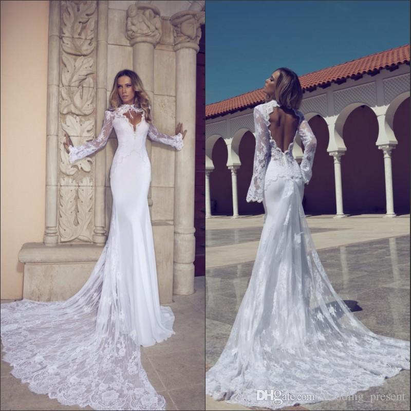 E245 Trendy Mermaid Sexy Wedding Dresses Long Sleeve High Neck Open