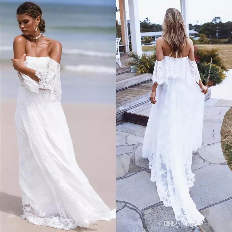 9c4da2441f Sexy Off Shoulder Full Lace Beach Wedding Dresses Cheap 2017 Latest Full  Lace Off The Shoulder