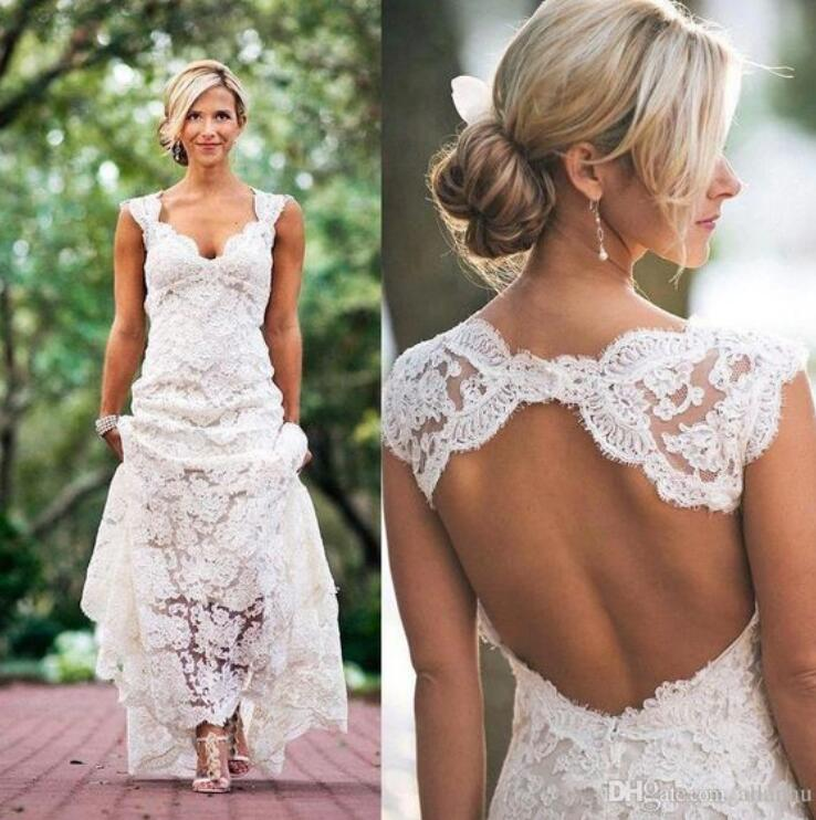 Full Lace Wedding Dresses Country Style Pluging V Neck Cap Sleeves Keyhole Back A Line Vintage Custom Made Bridal Gowns From Charming Dressy