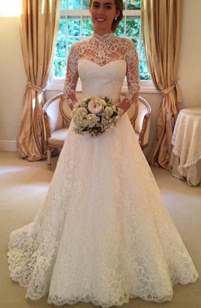 High Neckline Wedding Dresseslong Sleeves Wedding Dresselegant