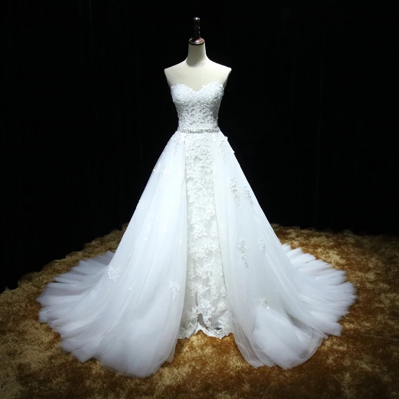 Sweetheart Full Lace Mermaid Wedding Dress featuring a Detachable ...