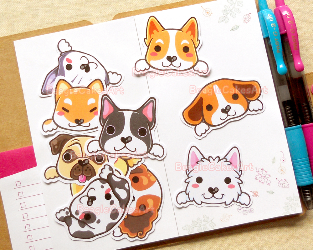 Dog stickers animal sticker kawaii sticker laptop sticker waterproof sticker pet stickers cute dog sticker pug sticker corgi sticker on storenvy