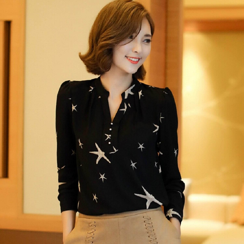 Chiffon Blouses Shirts Ladies White Black Elegant V Neck Blouse Long