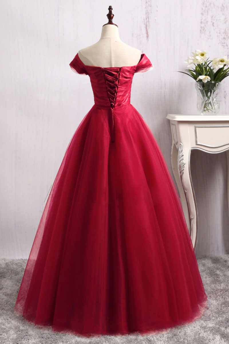 long red tulle off shoulder long prom dress,red tulle ball gown ...