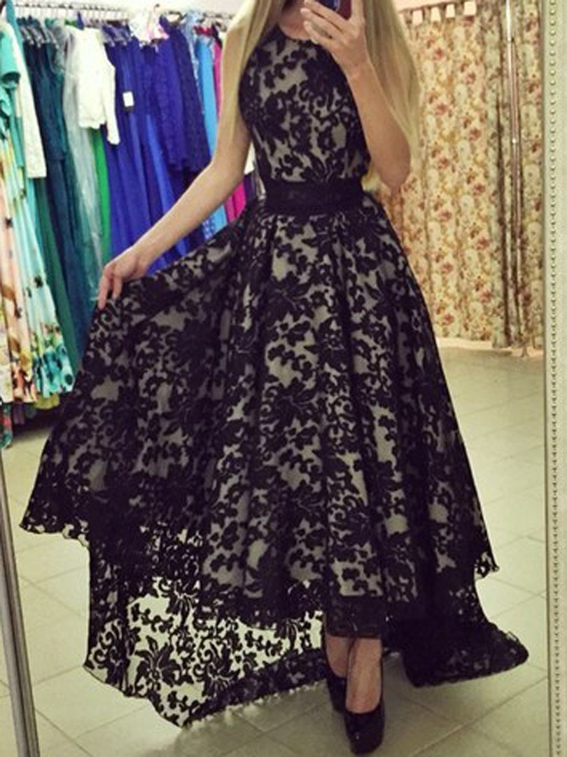 Chic Hi-Low Black Scoop Sleeveless Lace Prom Party Dress,Long Black ...