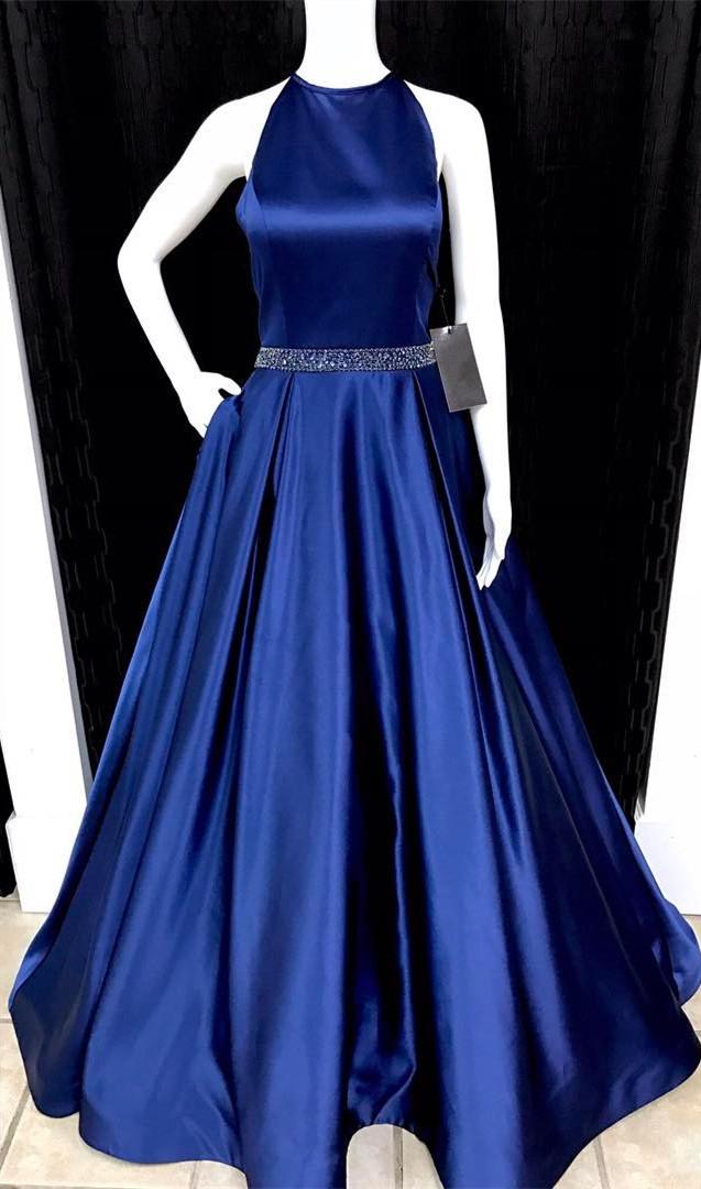 navy blue prom dress,ball gowns prom dress,satin prom dress,halter ...