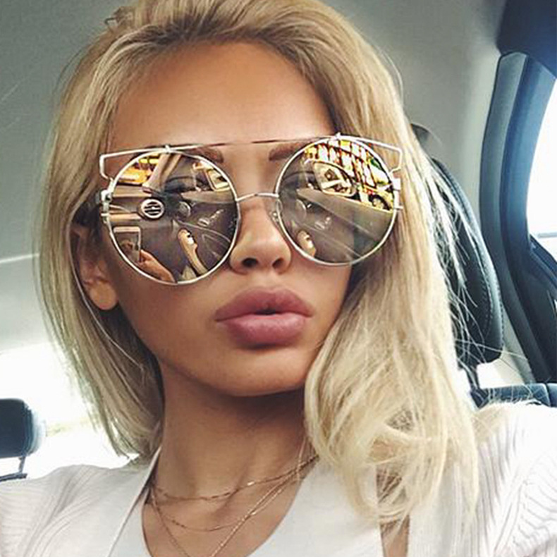 ... Women Oversized Round Mirror Sunglasses Metal Frame UV400 Protection in  5 Colors - Thumbnail 2 12d717802a