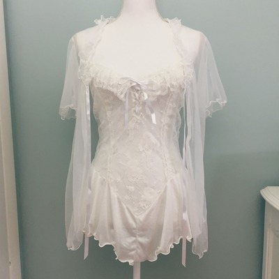 402e8c80b6 Vintage baby s breath nightie   robe set - cinema etoile size medium -  Thumbnail 3