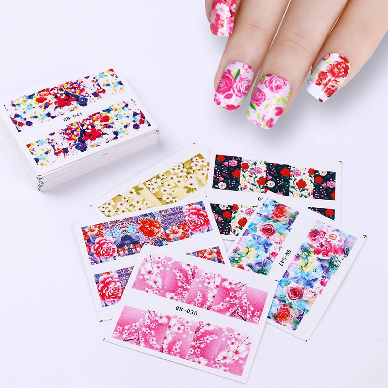 48 Patterns Flower Water Decal Rose Butterfly Sakura Pattern Nail ...