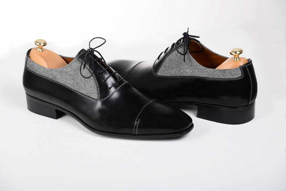 2fbd90e9d11 Handmade Men two tone leather formal shoes Men Oxford Black and gray dress  shoes on Storenvy