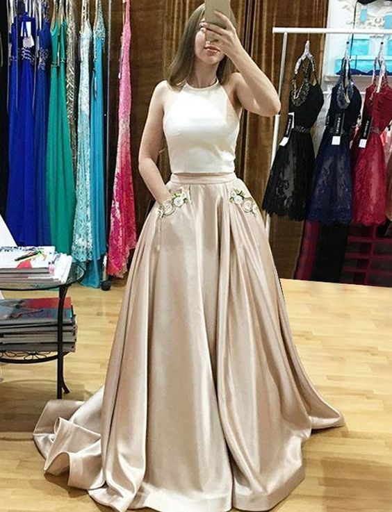A279 Champagne Two Piece Prom Dress,Halter Satin Formal Gown With ...