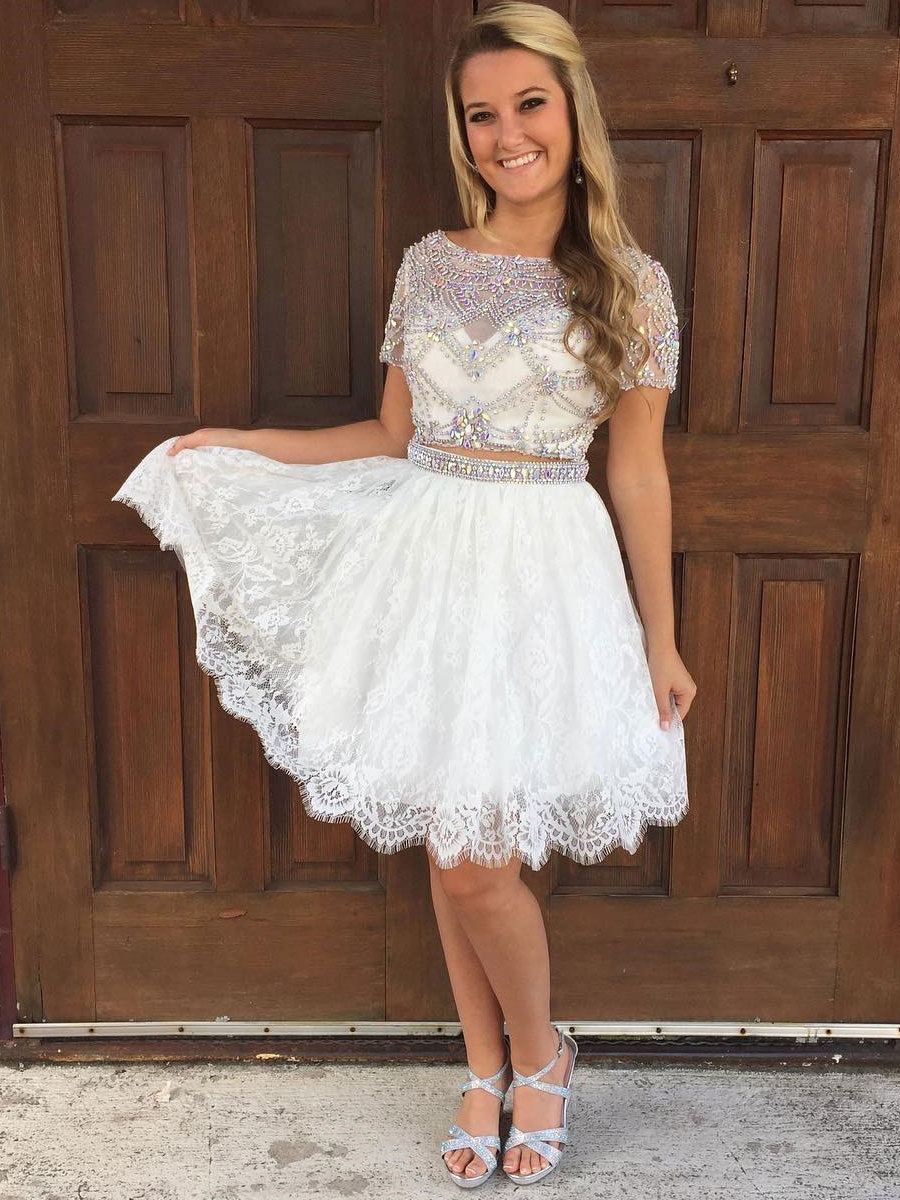 cb90f3d2c 2 Piece Homecoming Dresses,Ivory Lace Shinny Homecoming Dresses,Short Prom  Dresses,2017 Homecoming Dresses with Short Sleeves on Storenvy