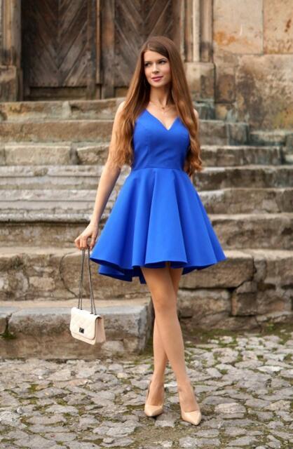 Royal Blue V Neck Pleated Homecoming Dress8th Grade Dance Dresses
