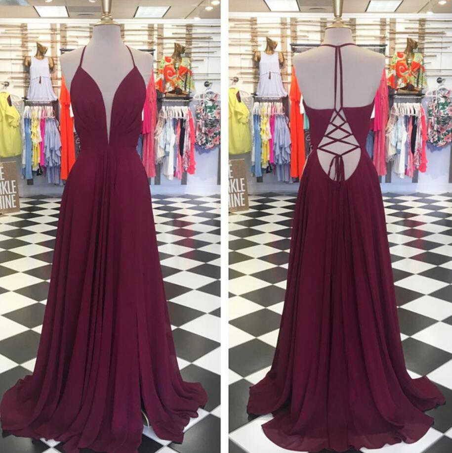 0db24267a04 a line v neck long chiffon burgundy formal elegant simple prom dress ...